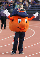 Sept 11, 20010:  The Syracuse mascot Otto entertained the Syracuse fans during the game with cheers.  Washington defeated Syracuse 41-20 at Husky Stadium in Seattle, Washington.