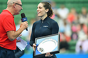 12th January 2018,  Kooyong Lawn Tennis Club, Kooyong, Melbourne, Australia; Priceline Pharmacy Kooyong Classic tennis tournament; Andrea Petkovic of Germany laughs after losing the Women's final of the Kooyong Classic to Belinda Bencic of Switzerland