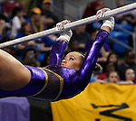 The SEC National Gymnastic Championship was held on Saturday March 24 at Chaifetz Arena on the Saint Louis University campus. Sarah Finnegan of LSU competes on the uneven bars.<br />