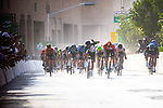 Phil Bauhaus (GER) Bahrain-Mclaren beats Nacer Bouhanni (FRA) Team Arkea Samsic to win Stage 5 of the Saudi Tour 2020 running 144km from Princess Nourah University to Al Masmak, Saudi Arabia. 8th February 2020. <br /> Picture: ASO/Pauline Ballet   Cyclefile<br /> All photos usage must carry mandatory copyright credit (© Cyclefile   ASO/Pauline Ballet)