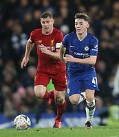 Chelsea's Billy Gilmour and Liverpool's James Milner<br /> <br /> Photographer Rob Newell/CameraSport<br /> <br /> The Emirates FA Cup Fifth Round - Chelsea v Liverpool - Tuesday 3rd March 2020 - Stamford Bridge - London<br />  <br /> World Copyright © 2020 CameraSport. All rights reserved. 43 Linden Ave. Countesthorpe. Leicester. England. LE8 5PG - Tel: +44 (0) 116 277 4147 - admin@camerasport.com - www.camerasport.com