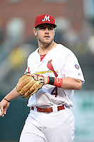 ***Temporary Unedited Reference File***Memphis Redbirds third baseman Patrick Wisdom (4) during a game against the Omaha Storm Chasers on May 5, 2016 at AutoZone Park in Memphis, Tennessee.  Omaha defeated Memphis 5-3.  (Mike Janes/Four Seam Images)