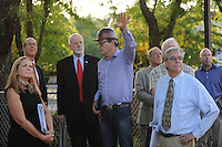 NWA Democrat-Gazette/ANDY SHUPE<br /> David Swain (center), owner representative for the Walton Arts Center, speaks Tuesday, Sept. 22, 2015, during a tour of the new administrative offices being constructed as part of Fayetteville's $12.3 million municipal parking deck project. The arts center contributed more than $2.2 million to the project which will house administrative staff and include additional back-of-house space for the performing arts center. Visit nwadg.com/photos to see more photographs from the tour.