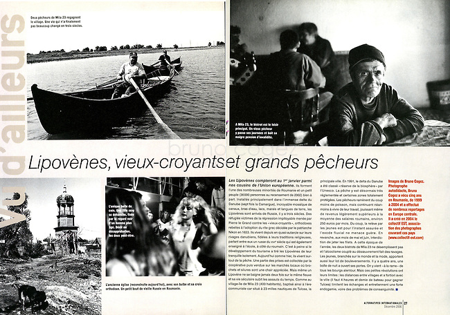 FRANCE, Paris, December 2006..Article about Lipovens in the delta of Danube, published in the French magazine Alternatives Internationales..FRANCE, Paris, Décembre 2006..Article sur les Lipovènes dans le delta du Danube publié dans Alternatives Internationales..© Bruno Cogez