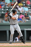 Catcher Ricky Valencia (15) of the Hickory Crawdads bats in a game against the Greenville Drive on Sunday, July 16, 2017, at Fluor Field at the West End in Greenville, South Carolina. Hickory won, 3-1. (Tom Priddy/Four Seam Images)