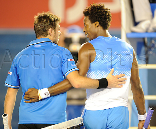 21.01.2011 Australian Open Tennis from Melbourne Park. Stanislas Wawrinka of Switzerland is congratulated by Gael Monfils of France after winning his match on day five of the 2011 Australian Open at Melbourne Park, Melbourne, Australia.