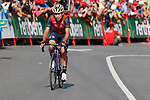 Giovanni Visconti (ITA) Bahrain-Merida approaches the finish line of Stage 18 of the 2017 La Vuelta, running 169km from Suances to Santo Toribio de Li&eacute;bana, Spain. 7th September 2017.<br /> Picture: Unipublic/&copy;photogomezsport | Cyclefile<br /> <br /> <br /> All photos usage must carry mandatory copyright credit (&copy; Cyclefile | Unipublic/&copy;photogomezsport)