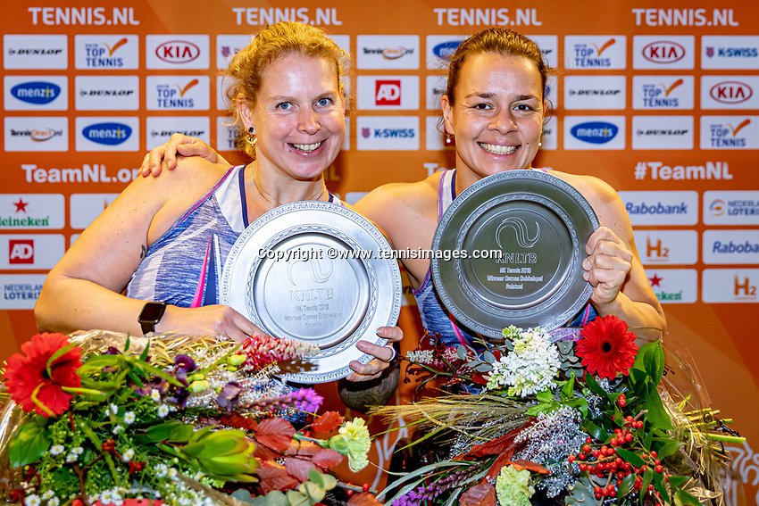 Alphen aan den Rijn, Netherlands, December 21, 2019, TV Nieuwe Sloot,  NK Tennis, Women's wheelchair doubles final:  Marjolein Buis (NED) and  Michaela Spaanstra(NED)<br />  (R) celebrate their win	<br /> Photo: www.tennisimages.com/Henk Koster