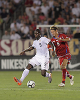 USA forward Eddie Johnson (9) controls the ball as Czech Republic defender Jan Rajnoch (5) defends. In the Send Off Series, the Czech Republic defeated the US men's national team, 4-2, at Rentschler Field in East Hartford, Connecticut, on May 25, 2010.