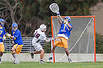 Los Angeles, CA 04/02/10 - Andrew Cooney (UCSB #14), Andrew Noto (UCSB #1) and Conner Pinkston (LMU #18) in action during the UCSB-LMU MCLA SLC conference lacrosse game at Loyola Marymount University.