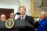 United States Senator Rand Paul (Republican of Kentucky) makes remarks prior to US President Donald J. Trump signing an Executive Order to promote healthcare choice and competition in the Roosevelt Room of the White House in Washington, DC on Thursday, October 12, 2017.  The President's controversial plan is designed to make lower-premium health insurance plans more widely available.<br /> Credit: Ron Sachs / Pool via CNP /MediaPunch