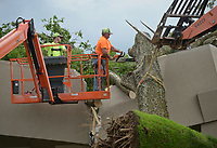 NWA Democrat-Gazette/BEN GOFF @NWABENGOFF<br /> Lonnie Pangle (right) and son Josh Pangle of Pangle's Tree Service, based in Bentonville, remove a large hackberry tree Friday, May 19, 2017, with help from Oelke Construction Company, after it fell on a building at Beau Terre Office Park in Bentonville. Multiple trees in the office park were broken or downed after an overnight storm passed through the area.