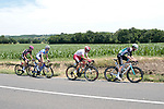 The breakaway featuring Quentin Pacher (FRA) Vital Concept-B&B Hotels, Luis Angel Mate Mardones (ESP) Cofidis, Angelo Tulik (FRA) Total Direct Energie and Pierre Gouault (FRA) Natura4Ever-Roubaix-Lille Metropole during Stage 4 of the Route d'Occitanie 2019, running 154.8km from Gers - Astarac Arros en Gascogne to Clermont-Pouyguillès, France. 23rd June 2019<br /> Picture: Colin Flockton | Cyclefile<br /> All photos usage must carry mandatory copyright credit (© Cyclefile | Colin Flockton)