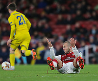 Jack Wilshere of Arsenal (right) appeals for a foul during the UEFA Europa League match between Arsenal and FC BATE Borisov  at the Emirates Stadium, London, England on 7 December 2017. Photo by David Horn.