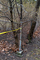 Caution tape surrounds Underwood Playground as part of a town-wide facility closure in Belmont, Massachusetts, on Fri., March 20, 2020. Earlier in the week, the Town closed all parks, fields, courts, and playgrounds, as part of the lockdown response to the ongoing coronavirus COVID-19 pandemic.