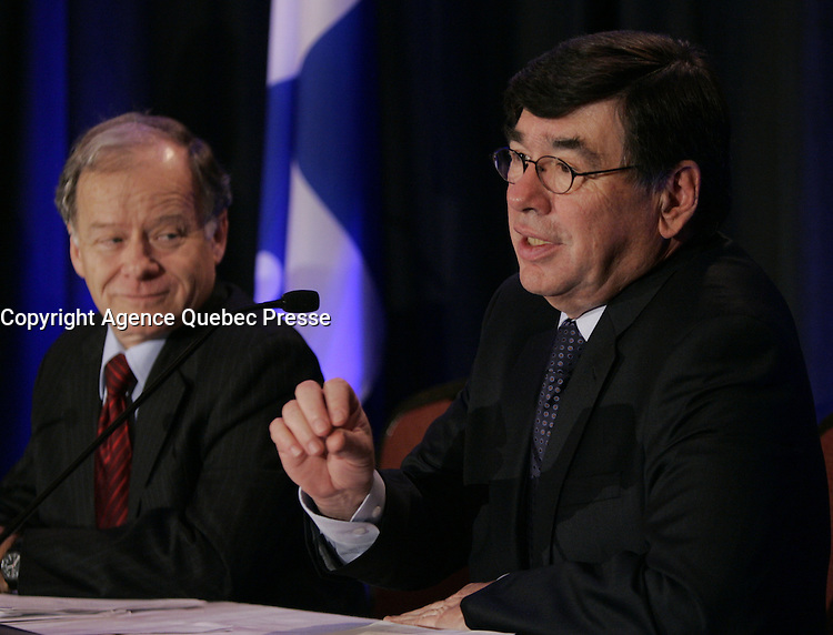 Montreal (Qc) CANADA - Feb 3 2010 - Raymond Bachand (L), Alain Cousineau, <br /> President and Chief Executive Officer of Loto-Qu&Egrave;bec