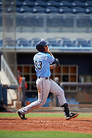 Tampa Bay Rays Kaleo Johnson (83) follows through on a swing during a Florida Instructional League game against the Baltimore Orioles on October 1, 2018 at the Charlotte Sports Park in Port Charlotte, Florida.  (Mike Janes/Four Seam Images)
