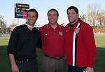 U.S. head coach Bruce Arena (c) poses with Hall of Famer John Harkes (l) and Tony Meola (r) before Meola played in his 100th international game on Tuesday, April 11th, 2006 at SAS Stadium in Cary, North Carolina. The United States Men's National Team tied Jamaica 1-1 in a men's international friendly.