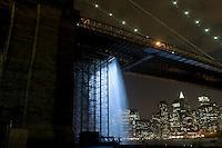 Brooklyn, NY 30 June 2008 - The New York City Waterfalls by Danish Artist Olafur Eliasson. Goot of the Brooklyn Bridge