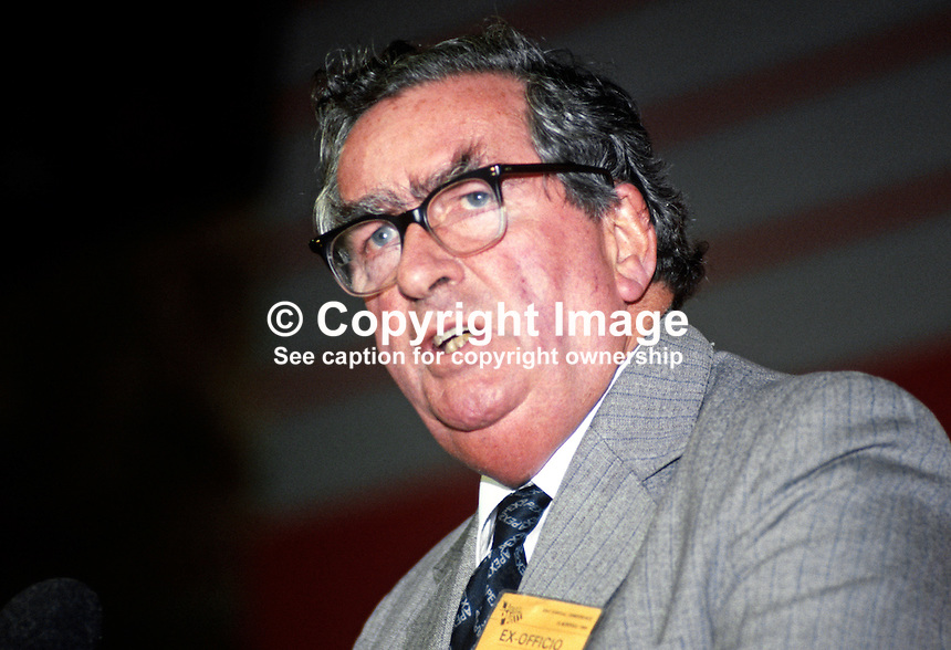 Denis Healey, MP, Labour Party, UK, former minister, speaking at annual conference, October, 1984, 19840124DH1.<br />