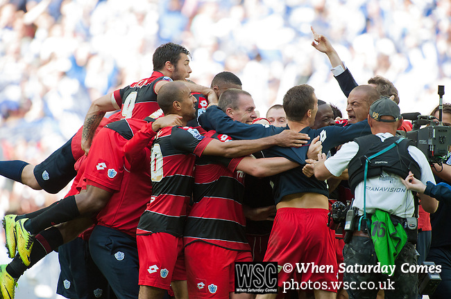 Queens Park Rangers 1 Derby County 0, 24/05/2014. Wembley Stadium, Championship Play Off Final. Queens Park Rangers players celebrate after the Championship Play-Off Final between Queens Park Rangers and Derby County from Wembley Stadium.  Photo by Simon Gill.