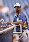 22 August 2015: Milwaukee Brewers hitting coach Darnell Coles watches batting practice prior to a game against the Washington Nationals at Nationals Park in Washington, DC. The Nationals defeated the Brewers 6-1 in the second game of their 3-game weekend series. Mandatory Credit: Ed Wolfstein Photo *** RAW (NEF) Image File Available ***