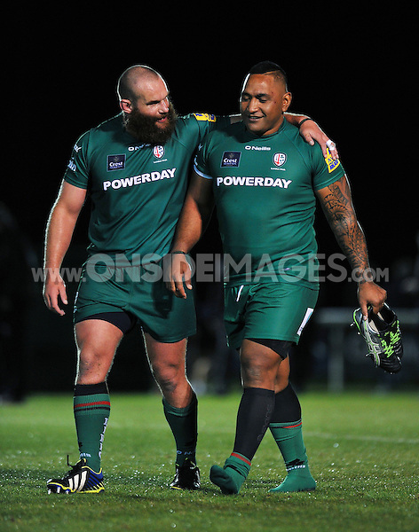 Geoff Cross and Halani Aulika post-match. Pre-season friendly match, between London Irish and Bristol Rugby on August 22, 2014 at Hazelwood in Middlesex, England. Photo by: Patrick Khachfe / JMP