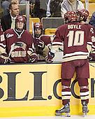 Mike Cavanaugh, Matt Greene, Brock Bradford, Brian Boyle, Benn Ferreiro - The Boston University Terriers defeated the Boston College Eagles 2-1 in overtime in the March 18, 2006 Hockey East Final at the TD Banknorth Garden in Boston, MA.