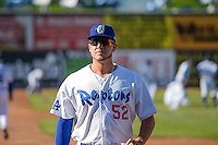 Marcus Crescentini (52) of the Ogden Raptors before the game against the Orem Owlz in Pioneer League action at Lindquist Field on June 18, 2015 in Ogden, Utah.  This was Opening Night play of the 2015 Pioneer League season. (Stephen Smith/Four Seam Images)