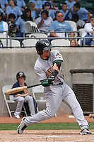 Cody Puckett #3 of the Lynchburg Hillcats at bat during a game against the Kinston Indians at Granger Stadium on April 28, 2010 in Kinston, NC. Photo by Robert Gurganus/Four Seam Images.