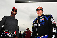 Apr. 29, 2012; Baytown, TX, USA: NHRA top fuel dragster driver Brandon Bernstein (right) with Antron Brown during the Spring Nationals at Royal Purple Raceway. Mandatory Credit: Mark J. Rebilas-