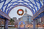 Christmas lights at Christopher Columbus Waterfront Park in Boston, MA, USA