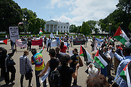 "May 15, 2011 (Washington, DC) Palestinians in the United States rallied in front of the White House in Washington on the 63rd anniversary of Al-Nakba. During the 1948 Palestine War, an estimated 700,000 Palestinians were expelled from, or fled, Palestine and hundreds of Palestinian villages were depopulated and destroyed. The displacement, dispossession and dispersal of the Palestinian people is known to them as al-Nakba, meaning ""the catastrophe,"" or ""the disaster.""  On Nakba Day of 2011, Palestinians and other Arabs from the West Bank, Gaza Strip, Syria, and Lebanon marched towards their respective borders with Israel to mark the event. (Photo Credit: Don Baxter/Media Images International)"