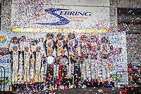 Victory Lane, confetti, 12 Hours of Sebring, Sebring International Raceway, Sebring, FL, March 2015.  (Photo by Brian Cleary/ www.bcpix.com )
