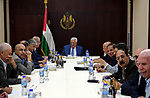 Palestinian President Mahmoud Abbas chairs a meeting of Executive Committee of the Palestine Liberation Organization, in the West Bank city of Ramallah on September 24, 2017. Photo by Thaer Ganaim