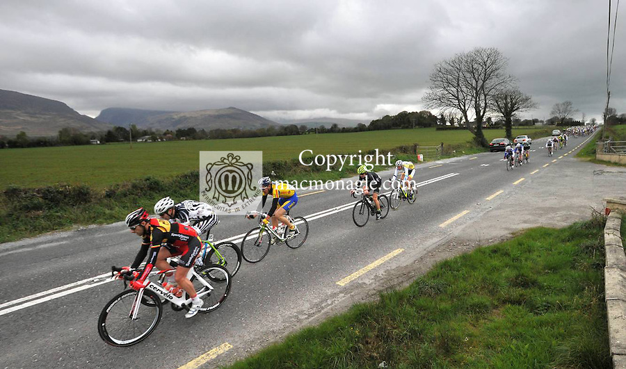 6-4-2012: 180 riders cycle past Fossa, Killarney as they make their way towards East Kerry for stage 1 of Ras Mumhan on Good Friday, the opening of the four day race around The Kingdom..Picture by Don MacMonagle
