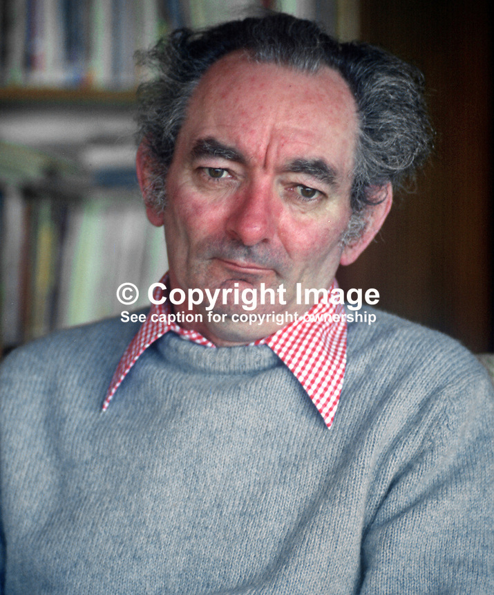 Brian Friel, playwright, born Omagh, Co Tyrone, N Ireland, 197803000095BF1<br /> <br /> Copyright Image from Victor Patterson,<br /> 54 Dorchester Park, <br /> Belfast, UK, BT9 6RJ<br /> <br /> t1: +44 28 9066 1296 (from Rep of Ireland 048 9066 1296)<br /> t2: +44 28 9002 2446 (from Rep of Ireland 048 9002 2446)<br /> <br /> m: +44 7802 353836<br /> <br /> e: victorpatterson@me.com<br /> www.victorpatterson.com<br /> <br /> Please see my Terms and Conditions of Use at www.victorpatterson.com. It is IMPORTANT that you familiarise yourself with them.<br /> <br /> Images used on the Internet must be visibly watermarked i.e. &copy; Victor Patterson<br /> within the body of the image and copyright metadata must not be deleted. Images <br /> used on the Internet have a size restriction of 4kbs and will be chargeable at current<br />  NUJ rates unless agreed otherwise.<br /> <br /> This image is only available for the use of the download recipient i.e. television station, newspaper, magazine, book publisher, etc, and must not be passed on to any third <br /> party. It is also downloaded on condition that each and every usage is notified within 7 days to victorpatterson@me.com<br /> <br /> The right of Victor Patterson to be identified as the author is asserted in accordance with The Copyright Designs And Patents Act (1988). All moral rights are asserted.