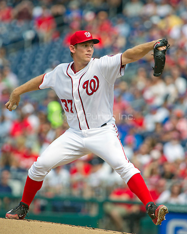 Washington Nationals starting pitcher Stephen Strasburg (37) works in the first inning against the Chicago Cubs at Nationals Park in Washington, D.C. on Wednesday, June 15, 2016.<br /> Credit: Ron Sachs / CNP/MediaPunch