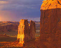 Courthouse Towers at Sunset, Seen from Park Avenue, Arches National Park, Utah