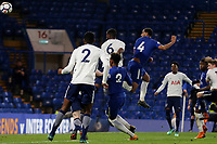 Joshua Grant scores Chelsea's opening goal with a fine header during Chelsea Under-23 vs Tottenham Hotspur Under-23, Premier League 2 Football at Stamford Bridge on 13th April 2018