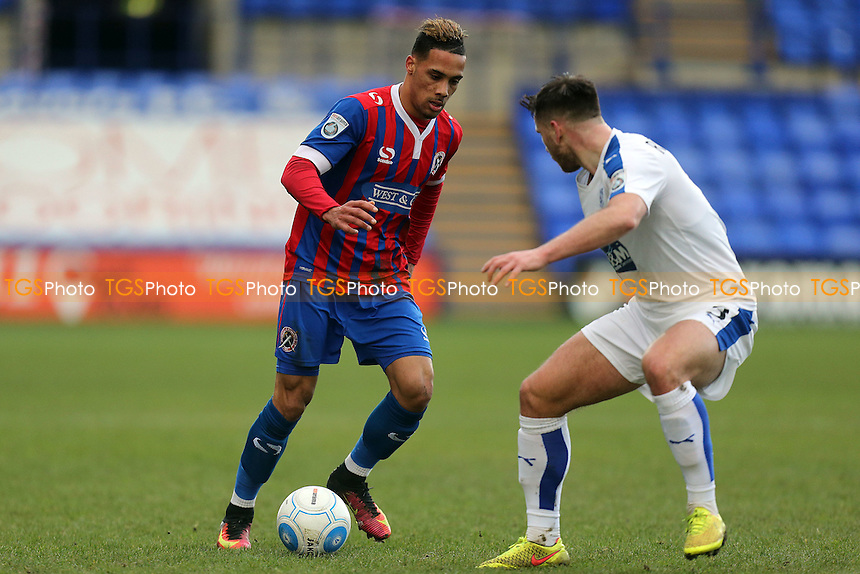 Liam Ridehalgh of Tranmere Rovers and Corey Whitely of Dagenham during Tranmere Rovers vs Dagenham & Redbridge, Vanarama National League Football at Prenton Park on 28th January 2017