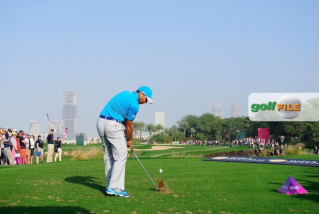 Sergio Garcia (ESP) tees off the par3 17th tee during Saturday's Final Round of the Commercial Bank Qatar Masters 2014 held at Doha Golf Club, Doha, Qatar. 25th January 2014.<br /> Picture: Eoin Clarke www.golffile.ie