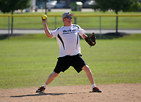 NWA Democrat-Gazette/BEN GOFF @NWABENGOFF<br /> Robert Radford of the Boyd Metals team from Fort Smith throws to first Thursday, July 13, 2017, during the Men's 65+ Major Division game against Dr. Vinyl in the Senior Softball U.S.A. Midwest Championships at the Rogers Regional Sports Park.