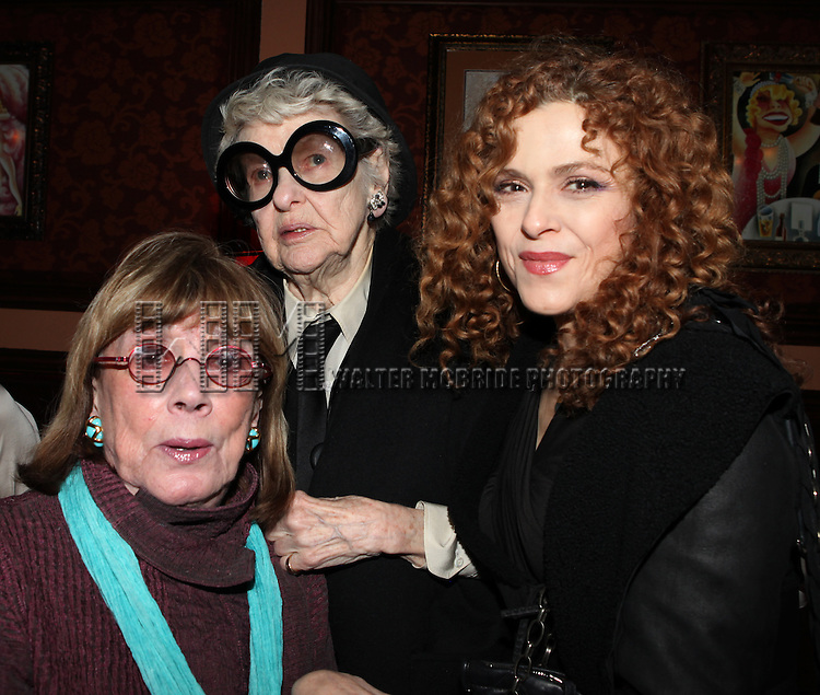 Phyllis Newman, Elaine Stritch & Bernadette Peters  attending a reception celebrating Hunter's 54 Below debut with 'You Make Me Feel So Young'  in New York City on 3/25/2013