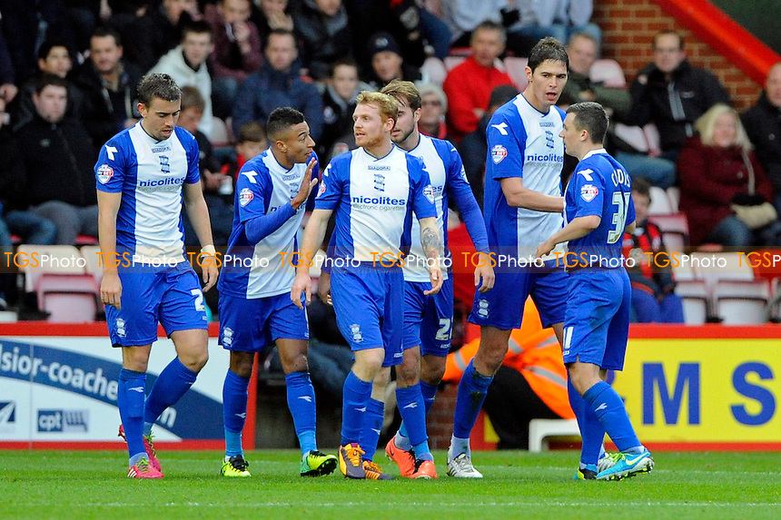 Birmingham City players celebrate their second goal - AFC Bournemouth vs Birmingham City - Sky Bet Championship Football at the Goldsands Stadium, Bournemouth, Dorset - 14/12/13 - MANDATORY CREDIT: Denis Murphy/TGSPHOTO - Self billing applies where appropriate - 0845 094 6026 - contact@tgsphoto.co.uk - NO UNPAID USE