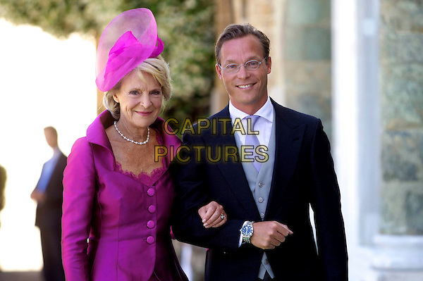 Bride's mother Princess Irene of the Netherlands, the Netherlands, Princess of Oranje Nassau, son Jaime, wedding of Albert and Mary Brenninkmeijer Carolina Princess de Bourbon de Parma, Basilica of San Miniato al Monte, Florence, Italy, 16 June 2012.royals royalty half length purple hat jacket black suit.CAP/PPG/JH.©Jens Hartmann/People Picture/Capital Pictures