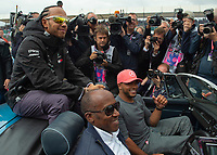 Lewis HAMILTON (GBR) (MERCEDES-AMG PETRONAS MOTORSPORT), Anthony HAMILTON and Nick HAMILTON during the Formula 1 Rolex British Grand Prix 2019 at Silverstone Circuit, Towcester, England on 14 July 2019. Photo by Vince  Mignott.