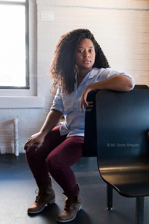 Carlha Toussaint, 24, of Brockton, Massachusetts, is a community organizer with the Coalition for Social Justice in Brockton, Massachusetts, USA. She is seen here in Jamaica Plain, Boston, Massachusetts.