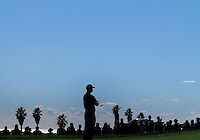 28 JAN 13 Tiger Woods silhouetted during Monday's Final round of The Farmers Insurance Open at The Torrey Pines Golf Course in La Jolla, California.(photo:  kenneth e.dennis / kendennisphoto.com)