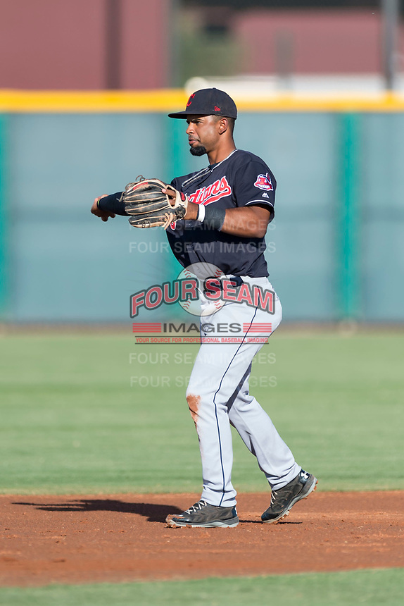AZL Indians 1 second baseman Wilbis Santiago (2) during an Arizona League game against the AZL Cubs 1 at Sloan Park on August 27, 2018 in Mesa, Arizona. The AZL Cubs 1 defeated the AZL Indians 1 by a score of 3-2. (Zachary Lucy/Four Seam Images)